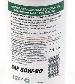 Castrol SAE 80W-90 oil back label