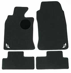 Floor Mats: Front & Rear Set Of Four, Black Carpet With MINI Cooper Wings Logo