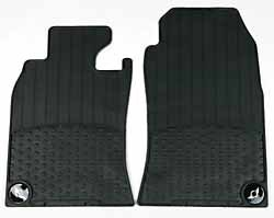 Floor Mats: Front Set Of Two, Black Rubber With MINI Cooper Wings Logo