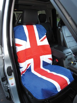 Seat Armor Seat Towel - Terry Cloth Union Jack - Red, White & Blue - Single Cover