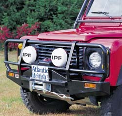 bull bar and winch bumper installed on Defender