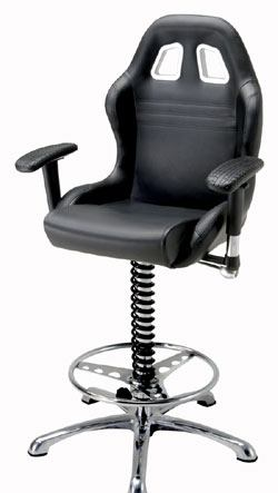 Man Cave Crew Chief Adjustable Bar Chair: Black From PitStop Furniture