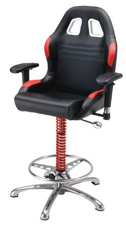 Man Cave Crew Chief Adjustable Bar Chair: Red & Black From PitStop Furniture
