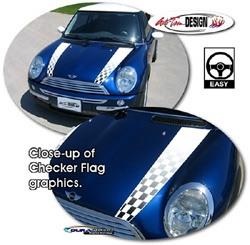 Decal MINI Cooper Hood -Checker Flags