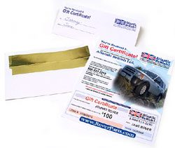 Land Rover gift certificate