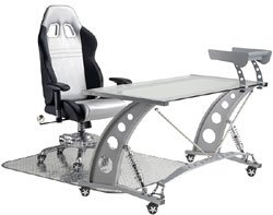 Man Cave Rolling Office Chair GT: Silver & Black From PitStop Furniture