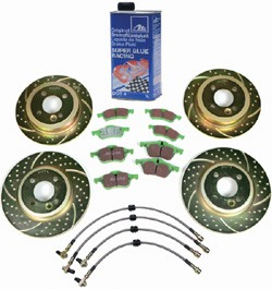 EBC High Performance Brake Upgrade Kit: 3GD Sport Rotors With Greenstuff Pads Front & Rear; Stainless Steel Teflon Brake Hose Set; ATE Super Blue Performance Brake Fluid