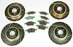 EBC High Performance Brake Replacement Kit: 3GD Sport Rotors With Greenstuff Pads Front & Rear
