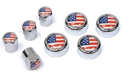 Tire Valve Caps & License Plate Screw Covers - USA Flag - 8-Piece Set