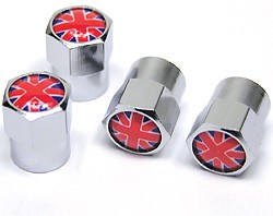 Tire Valve Caps - Union Jack - Set Of 4