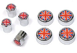 Tire Valve Caps & License Plate Screw Covers - Union Jack - 8-Piece Set