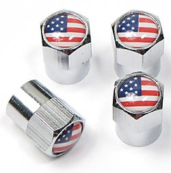 Tire Valve Caps - USA Flag - Set Of 4