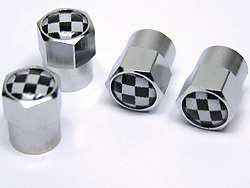 Tire Valve Caps - Checkered - Set Of 4
