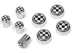 Tire Valve Caps & License Plate Screw Covers - Checkered - 8-Piece Set