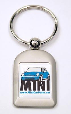 Key Chain - Brushed Aluminum - MINI Cooper - Blue