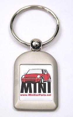 Key Chain - Brushed Aluminum - MINI Cooper - Red
