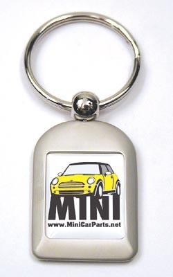 Key Chain - Brushed Aluminum - MINI Cooper - Yellow