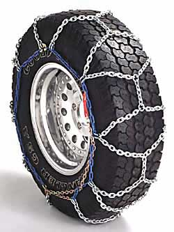 tire with chains on