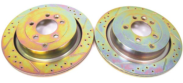 Performance Rear Brake Rotors By Terrafirma, Drilled And Slotted Pair, For Land Rover LR3 V8 And Range Rover Sport