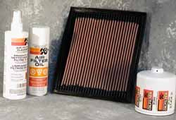 K&N oil filter, air filter, air filter cleaner and oil