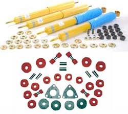 Bilstein Perforamnce Shock Absorber Kit With Polyurethane Suspension Bushings By Polybush, Front And Rear Suspension, Red / Very Firm, For Land Rover Discovery 1, Defender 90 And Range Rover Classic
