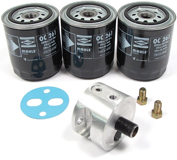Spin-On Oil Filter And Adapter Kit, Includes Adapter And 3 Oil Filters For Land Rover Series 2, 2A And 3