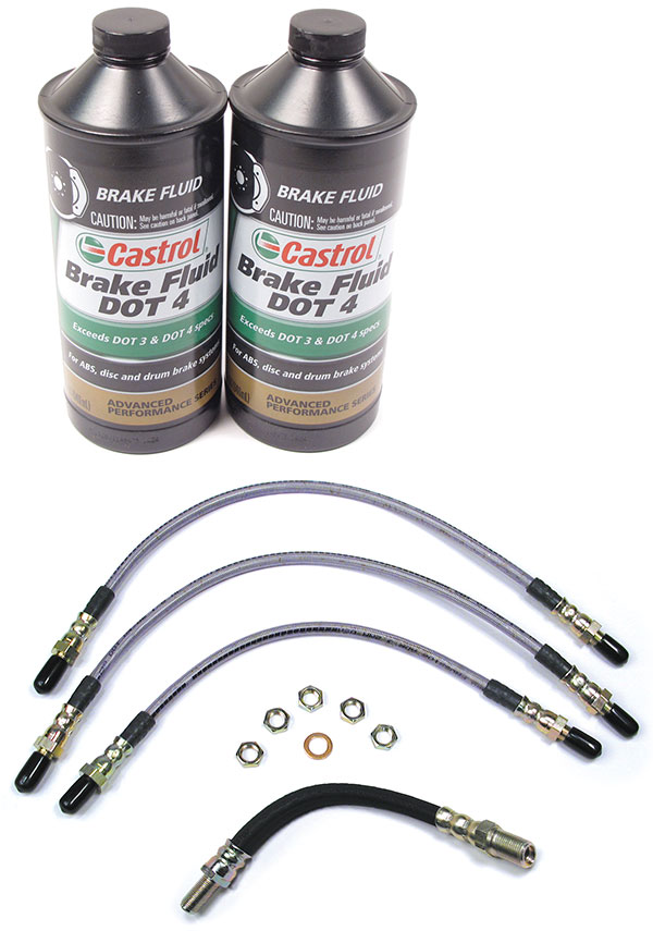 brake hoses and 2 bottles of brake fluid