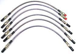 Performance Stainless Steel Brake Hose Kit With Teflon Liners For 2-Inch Extended Hoses For Raised Suspension Range Rover Classic, 1990 - 1991