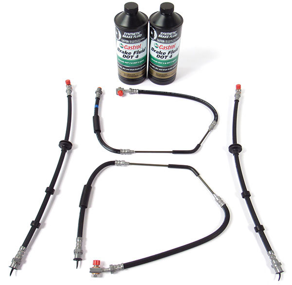 Brake Hose Kit, Standard Rubber Hoses With 2 Quarts Castrol DOT 4 Brake Fluid For Range Rover Full Size L322 2006 - 2009