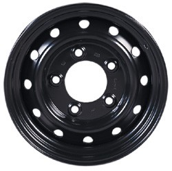 NATO Steel Wheels, Set Of 5, Black, 16 X 6.5-Inch, Tubeless, For Land Rover Discovery I, Defender 90 And 110, And Range Rover Classic