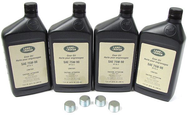 Differential Service Kit, Front And Rear For Range Rover P38 BOSCH Engine Vehicles, 2000 - 2202, Includes 4 Quarts Genuine Differential / Axle Oil 75-W90R GL5 Fluid And 4 Drain Plugs