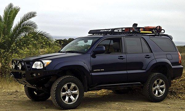 Toyota 4RUNNER with standard basket long roof rack
