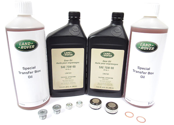 Differential And Transfer Case Service Kit, Genuine Replacement Fluid, Plugs And Crush Washers For Range Rover Sport 2010 - 2013 With Non-Electronic Differential