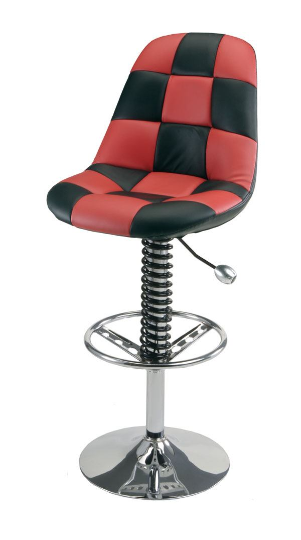 red and black checker bar stool