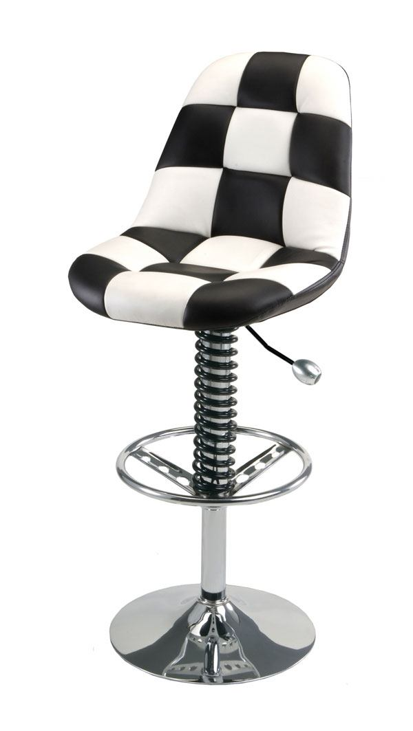 white and black checker bar stool