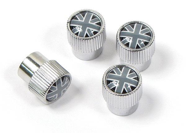 Union Jack tire valve caps