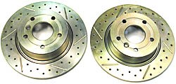 Brake Rotor Rear Drilled/Slotted Pair