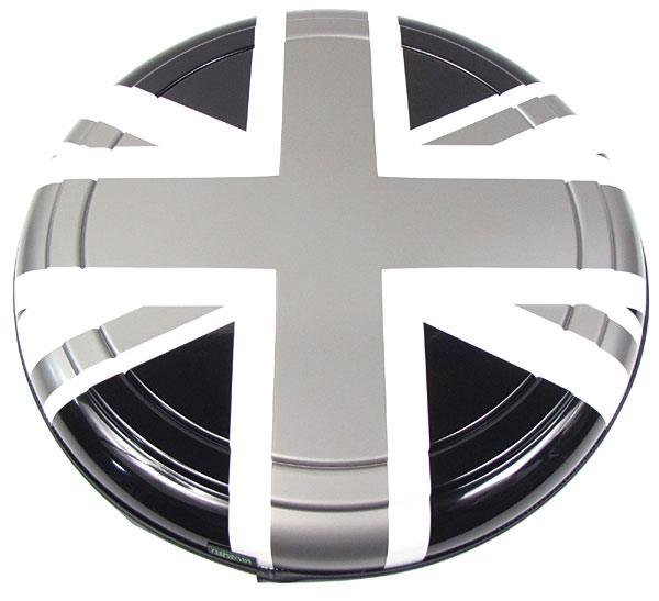 Boomerang Rigid Wheel Cover For Spare Tire (Black, White & Pewter Gray Union Jack Design)